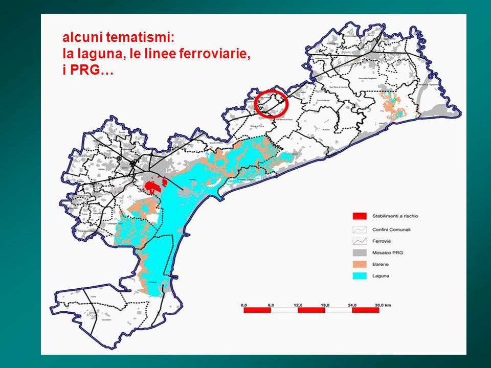 alcuni tematismi: la laguna, le linee ferroviarie, i PRG…