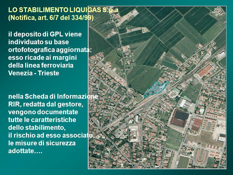 LO STABILIMENTO LIQUIGAS S.p.a (Notifica, art. 6/7 del 334/99) il deposito di GPL viene individuato su base ortofotografica aggiornata: esso ricade ai