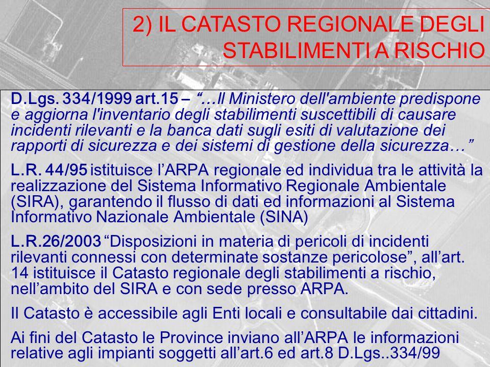 2) IL CATASTO REGIONALE DEGLI STABILIMENTI A RISCHIO D.Lgs.