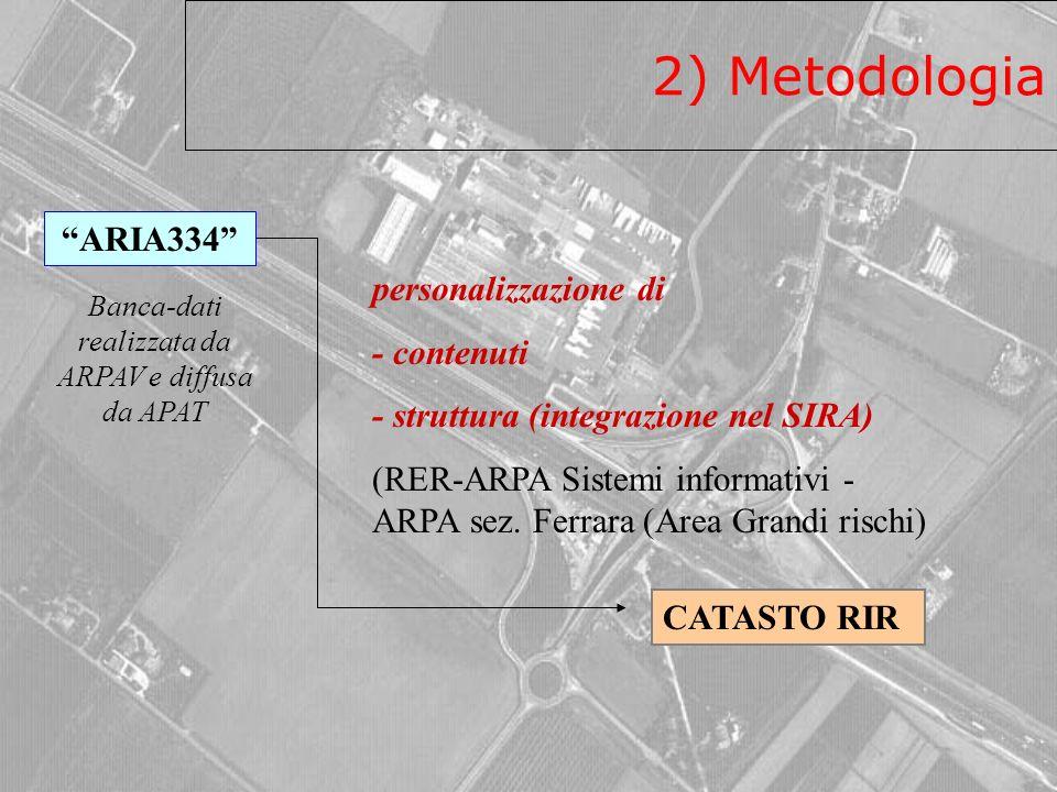 2) Metodologia ARIA334 CATASTO RIR personalizzazione di - contenuti - struttura (integrazione nel SIRA) (RER-ARPA Sistemi informativi - ARPA sez.