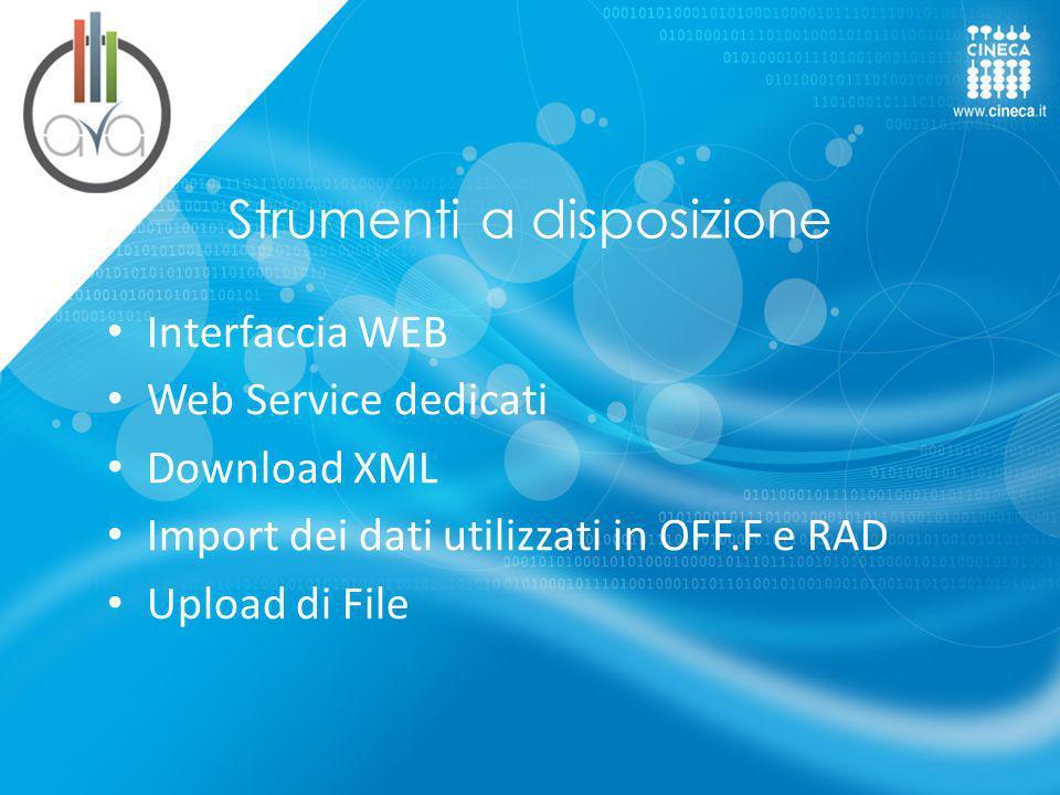 Strumenti a disposizione Interfaccia WEB Web Service dedicati Download XML Import dei dati utilizzati in OFF.F e RAD Upload di File
