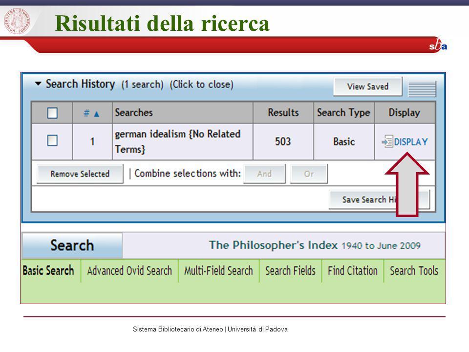 Risultati della ricerca Sistema Bibliotecario di Ateneo | Università di Padova