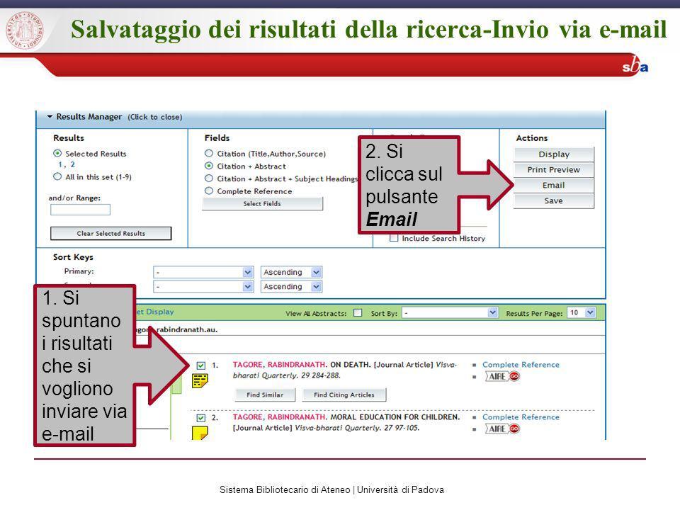 Salvataggio dei risultati della ricerca-Invio via e-mail 1.