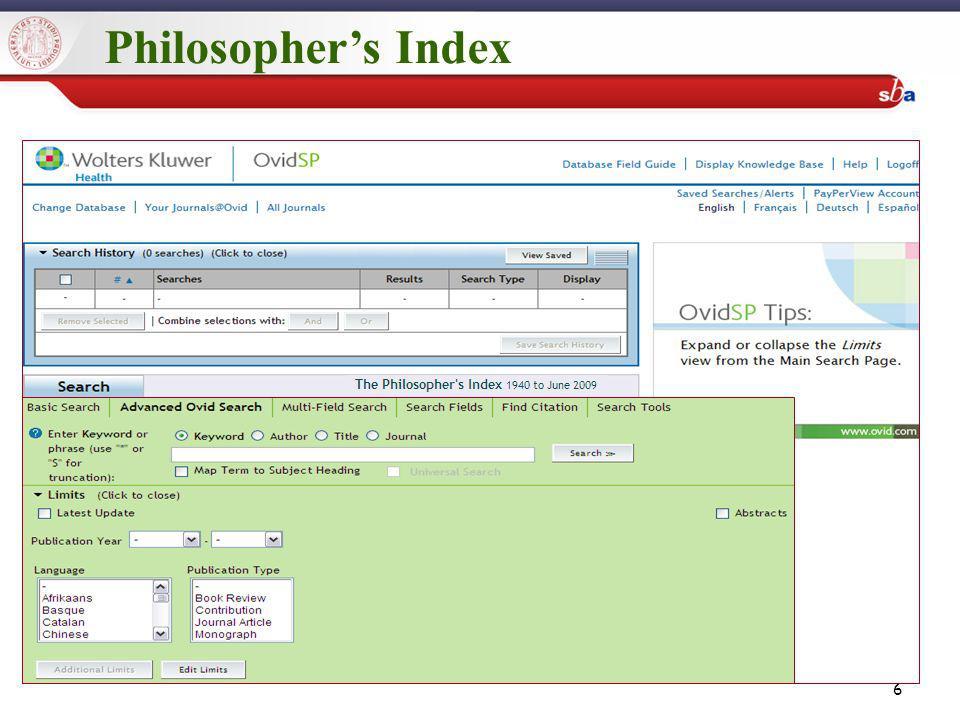 Search Tools Permette di relazionare il soggetto della tua ricerca con altri termini affini presenti nel database appartenenti alla stessa area semantica (sinonimi, narrower terms, broader terms).