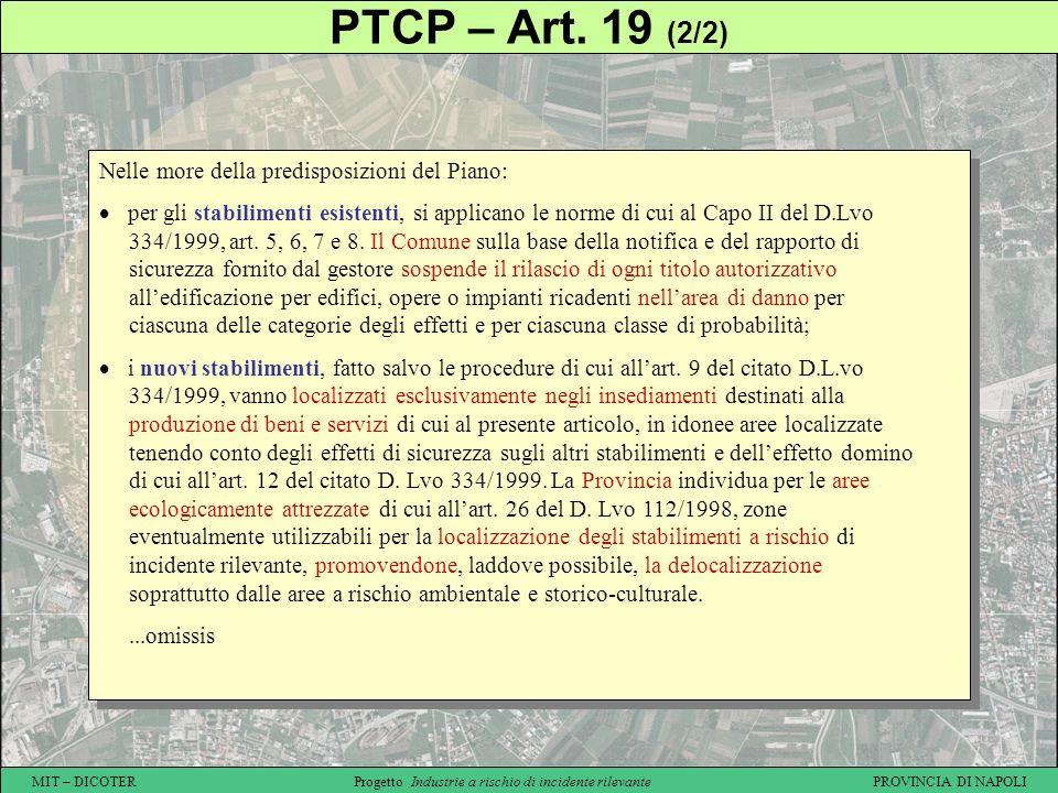 MIT – DICOTER Progetto Industrie a rischio di incidente rilevante PROVINCIA DI NAPOLI PTCP – Art. 19 (2/2) Nelle more della predisposizioni del Piano: