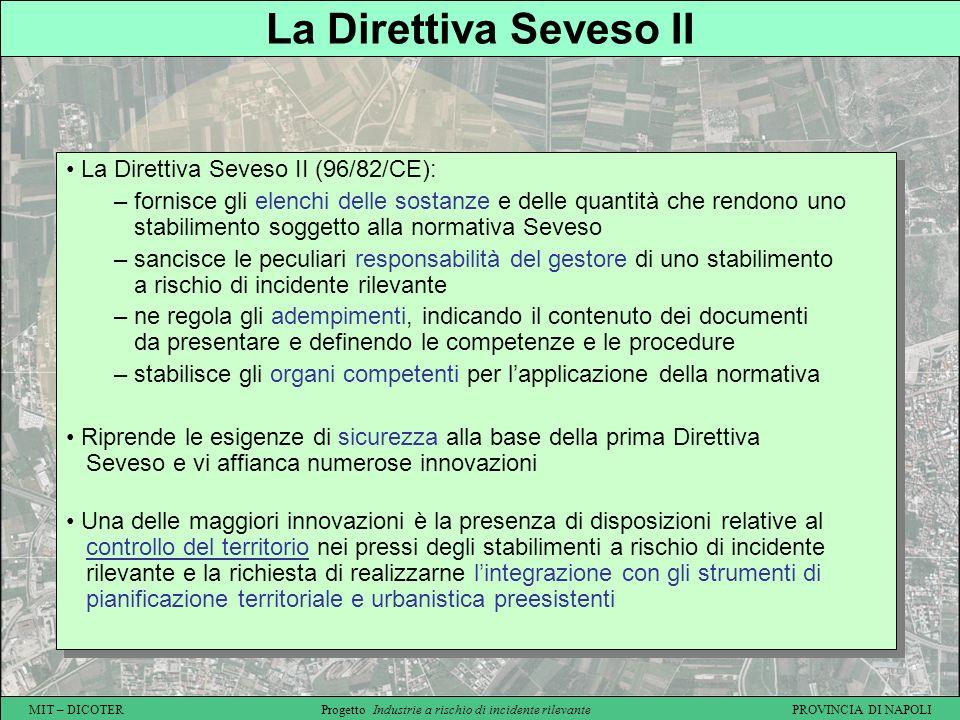 MIT – DICOTER Progetto Industrie a rischio di incidente rilevante PROVINCIA DI NAPOLI La Direttiva Seveso II La Direttiva Seveso II (96/82/CE): – forn