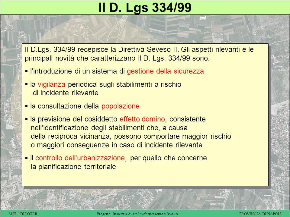 MIT – DICOTER Progetto Industrie a rischio di incidente rilevante PROVINCIA DI NAPOLI Il D. Lgs 334/99 Il D.Lgs. 334/99 recepisce la Direttiva Seveso