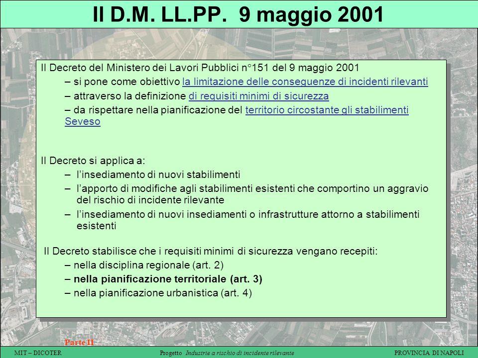 MIT – DICOTER Progetto Industrie a rischio di incidente rilevante PROVINCIA DI NAPOLI Il D.M. LL.PP. 9 maggio 2001 Parte II Il Decreto del Ministero d