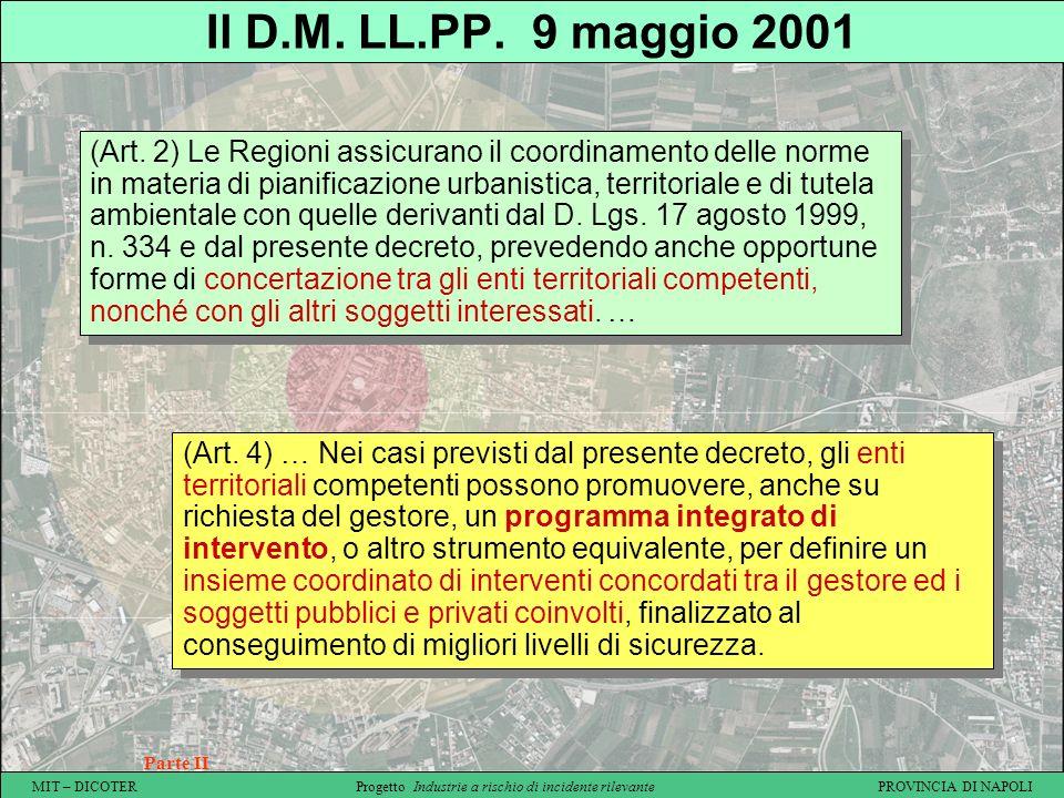 MIT – DICOTER Progetto Industrie a rischio di incidente rilevante PROVINCIA DI NAPOLI Il D.M. LL.PP. 9 maggio 2001 Parte II (Art. 2) Le Regioni assicu