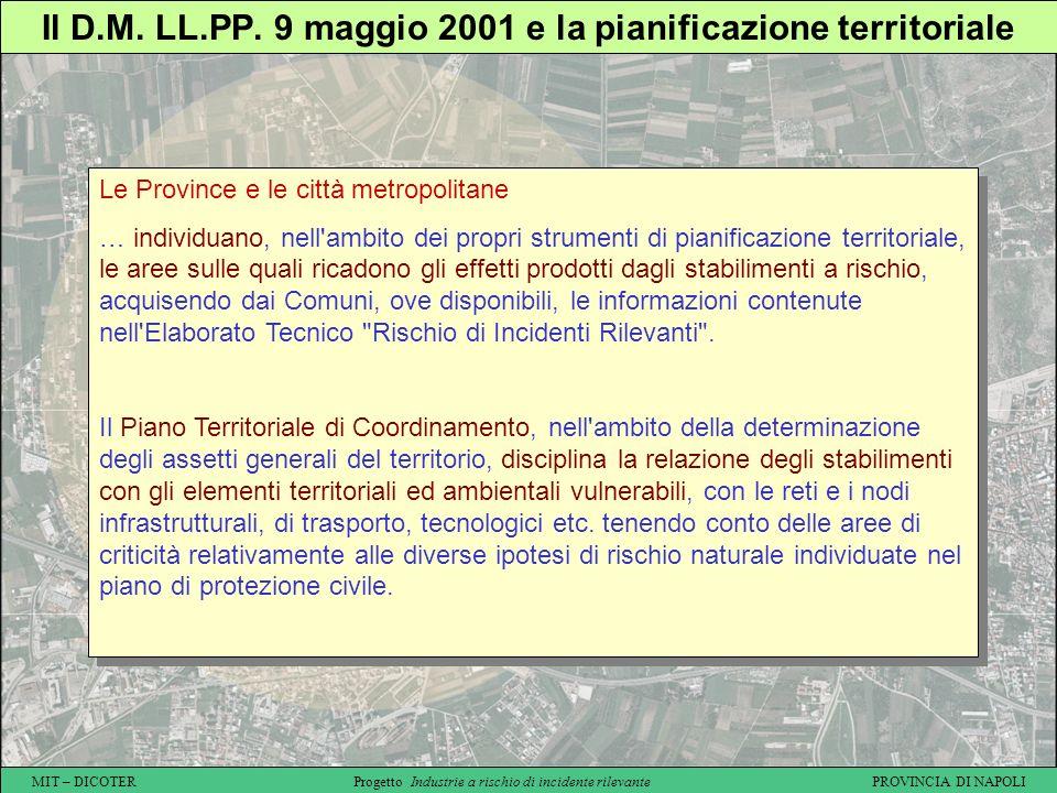 MIT – DICOTER Progetto Industrie a rischio di incidente rilevante PROVINCIA DI NAPOLI Il D.M. LL.PP. 9 maggio 2001 e la pianificazione territoriale Le