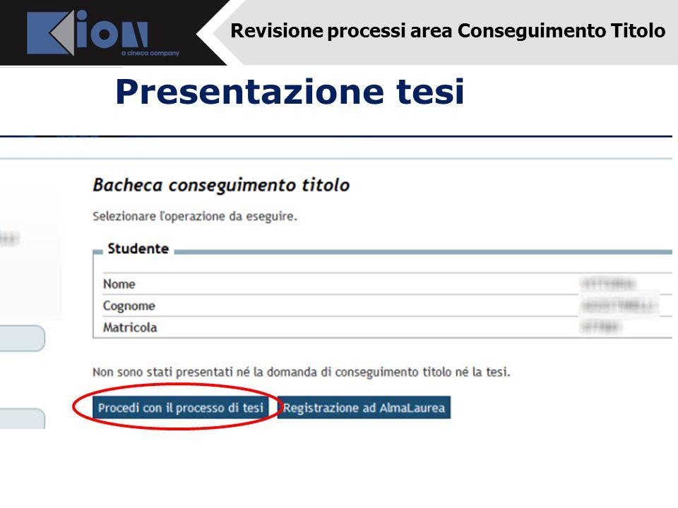 Presentazione tesi Revisione processi area Conseguimento Titolo