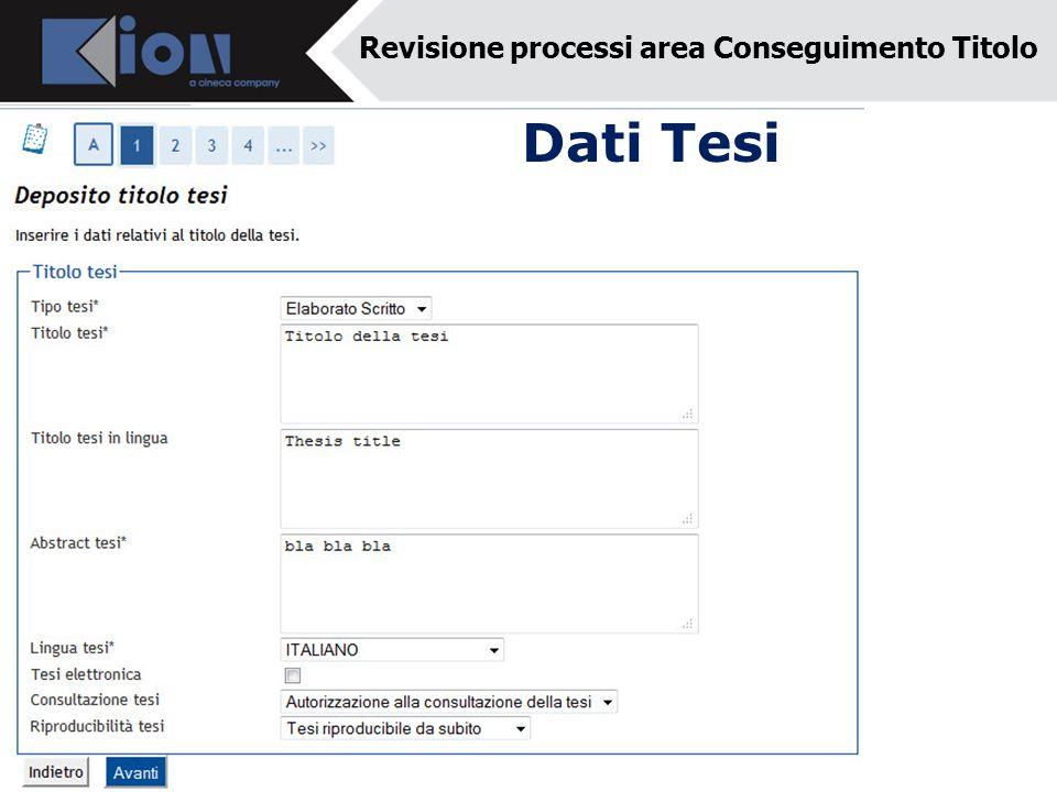 Dati Tesi Revisione processi area Conseguimento Titolo