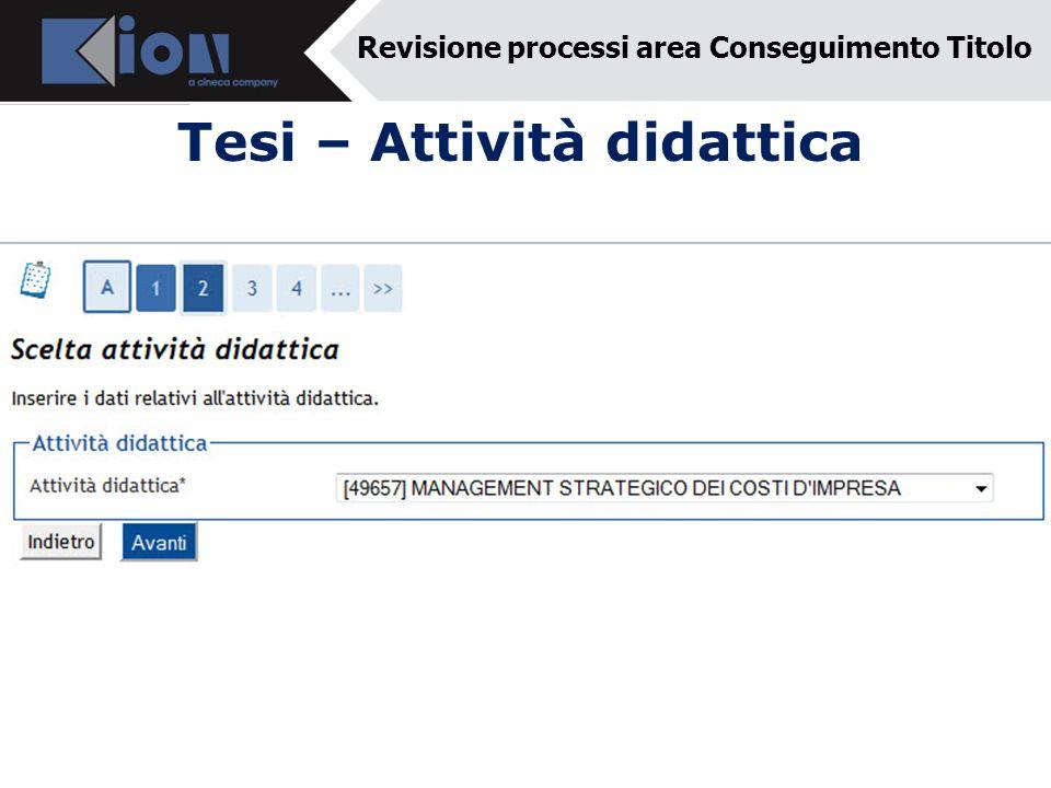 Tesi – Attività didattica Revisione processi area Conseguimento Titolo