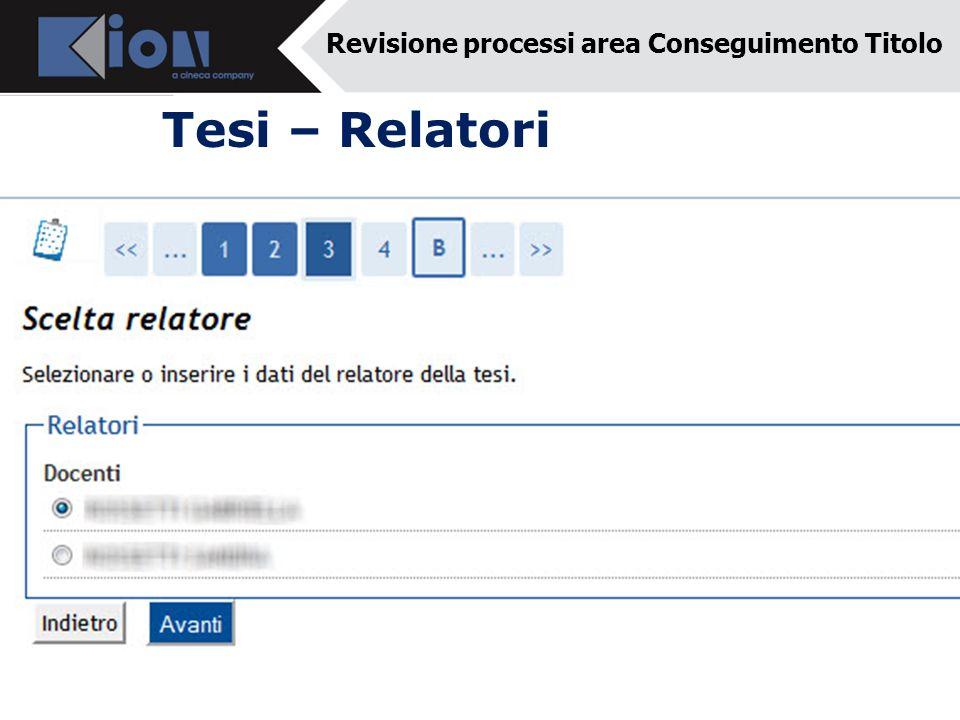 Tesi – Relatori Revisione processi area Conseguimento Titolo