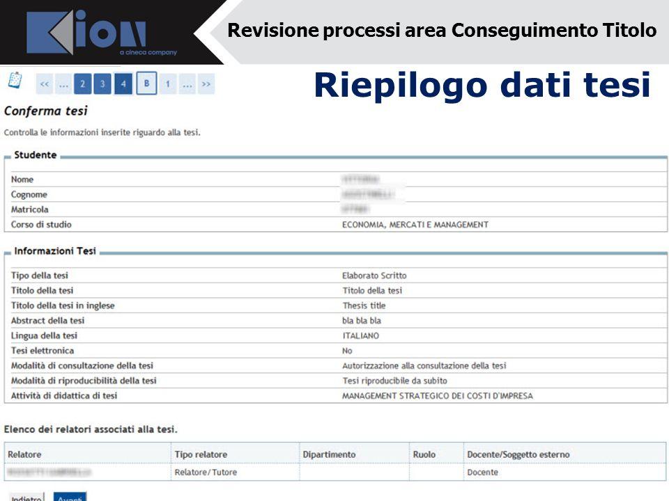 Riepilogo dati tesi Revisione processi area Conseguimento Titolo