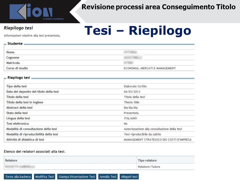 Revisione processi area Conseguimento Titolo Tesi – Riepilogo