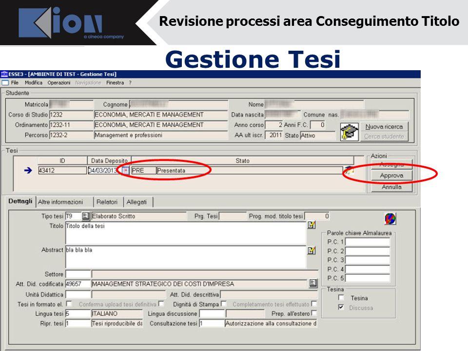 Revisione processi area Conseguimento Titolo Gestione Tesi