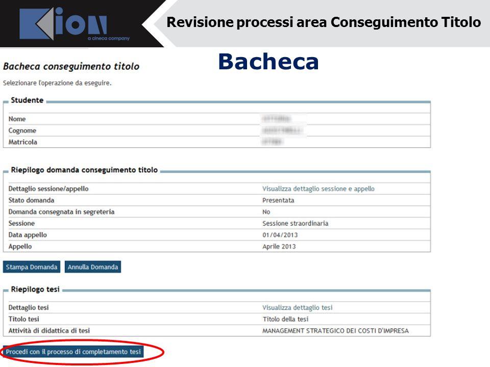 Bacheca Revisione processi area Conseguimento Titolo