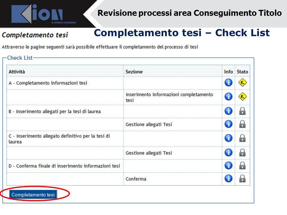 Completamento tesi – Check List Revisione processi area Conseguimento Titolo