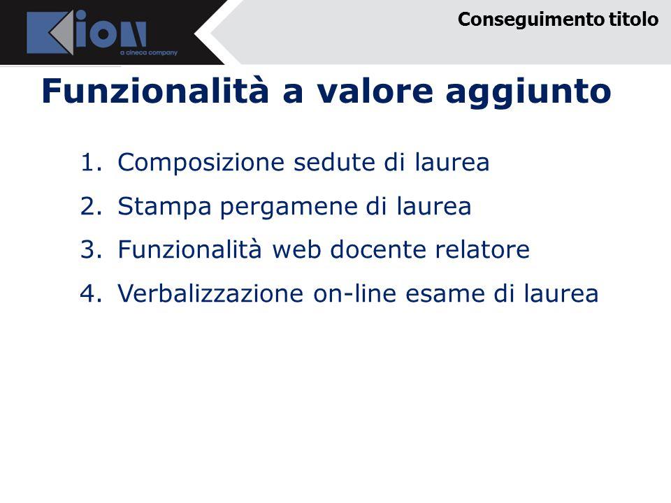 Funzionalità a valore aggiunto 1.Composizione sedute di laurea 2.Stampa pergamene di laurea 3.Funzionalità web docente relatore 4.Verbalizzazione on-l