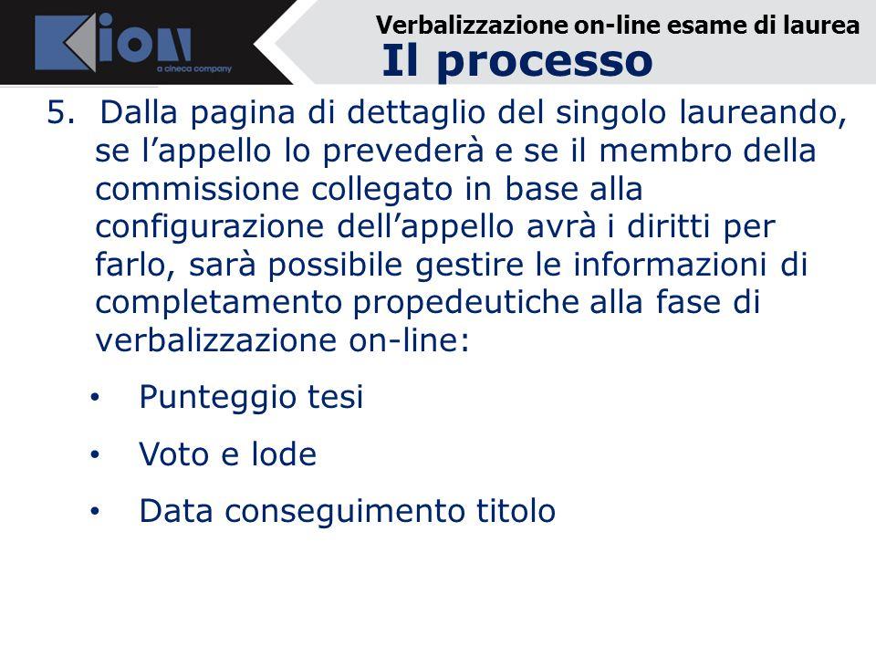 Verbalizzazione on-line esame di laurea 5. Dalla pagina di dettaglio del singolo laureando, se lappello lo prevederà e se il membro della commissione