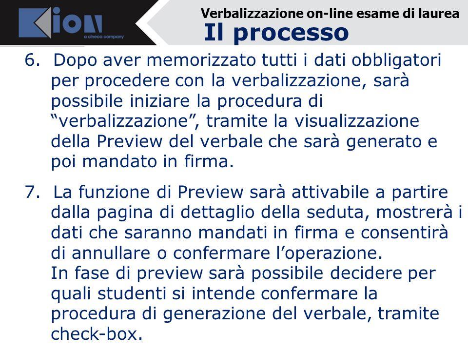 Verbalizzazione on-line esame di laurea 6.