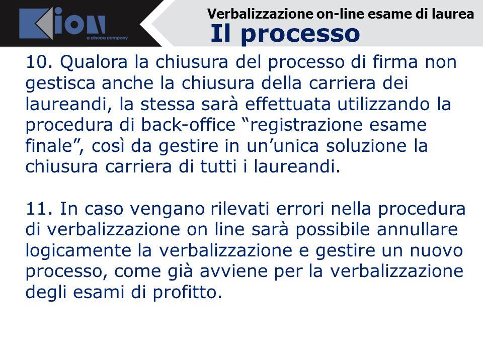 Verbalizzazione on-line esame di laurea 10.