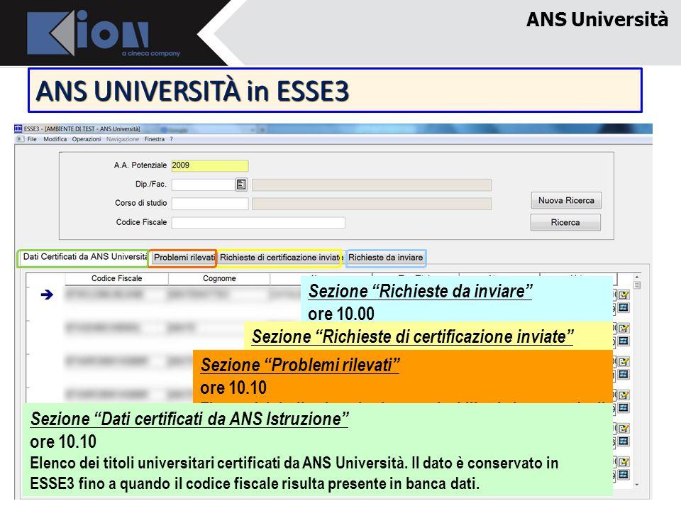 ANS Università ANS UNIVERSITÀ in ESSE3 Sezione Richieste da inviare ore 10.00 Ricavo titoli universitari che devo ancora certificare ed invio richiest