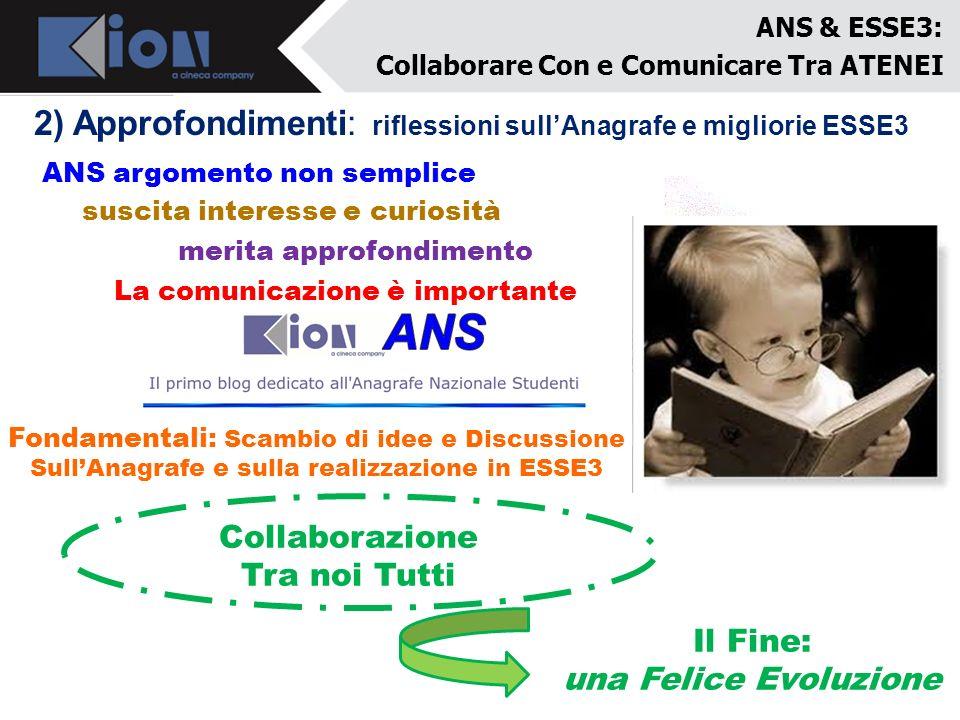 ANS & ESSE3: Collaborare Con e Comunicare Tra ATENEI 2) Approfondimenti: riflessioni sullAnagrafe e migliorie ESSE3 ANS argomento non semplice merita