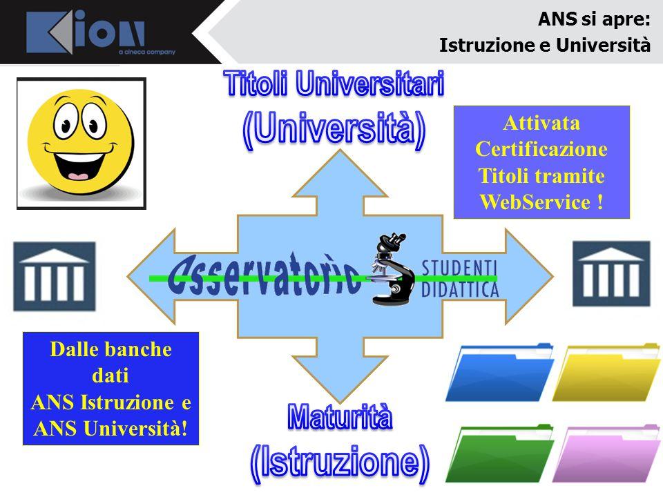ANS si apre: Istruzione e Università Attivata Certificazione Titoli tramite WebService ! Dalle banche dati ANS Istruzione e ANS Università!