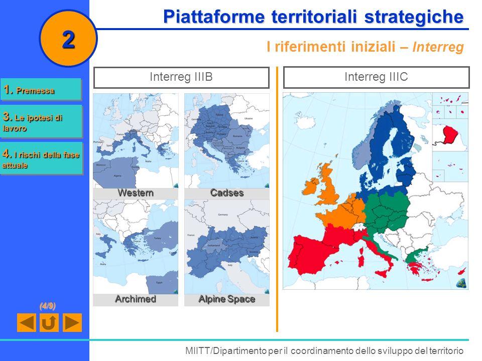 Piattaforme territoriali strategiche I riferimenti iniziali – Interreg MIITT/Dipartimento per il coordinamento dello sviluppo del territorio 2 Interre
