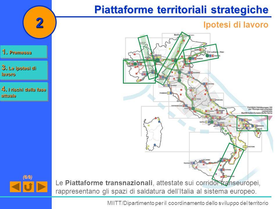 Piattaforme territoriali strategiche Ipotesi di lavoro MIITT/Dipartimento per il coordinamento dello sviluppo del territorio 2 Le Piattaforme transnaz