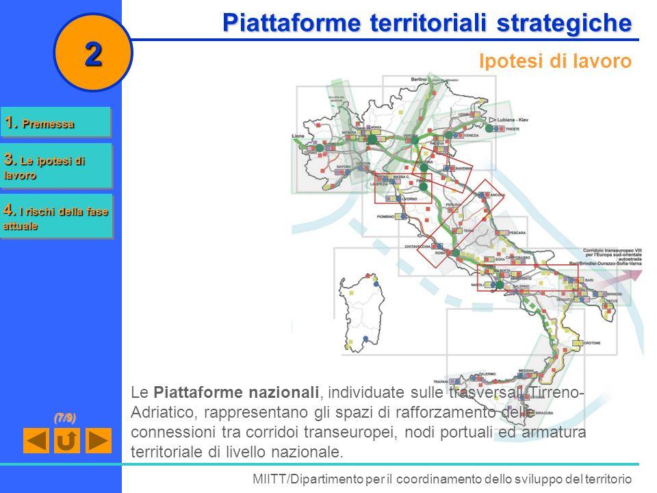 Piattaforme territoriali strategiche MIITT/Dipartimento per il coordinamento dello sviluppo del territorio 2 Ipotesi di lavoro Le Piattaforme nazional