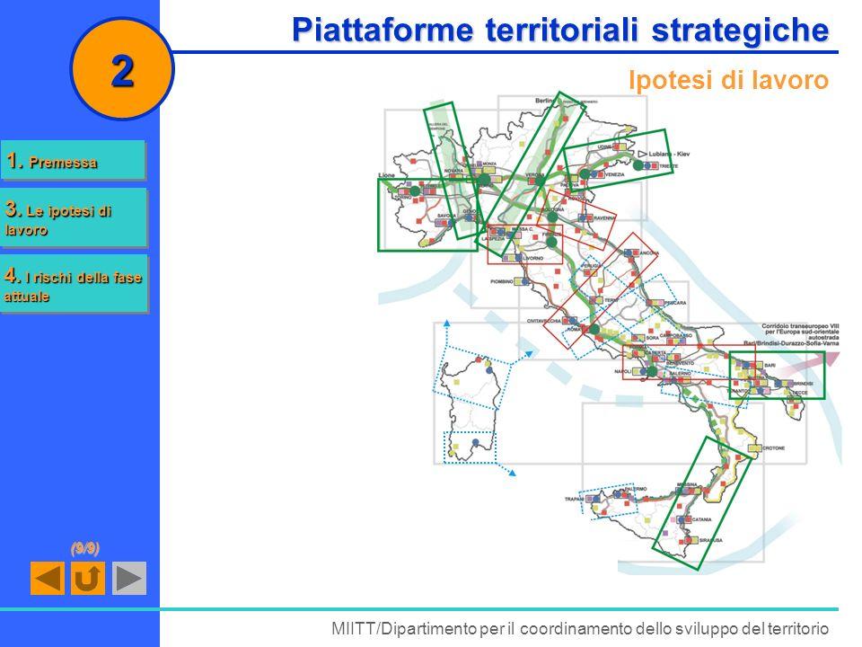 Piattaforme territoriali strategiche MIITT/Dipartimento per il coordinamento dello sviluppo del territorio 2 Ipotesi di lavoro 1. Premessa 1. Premessa