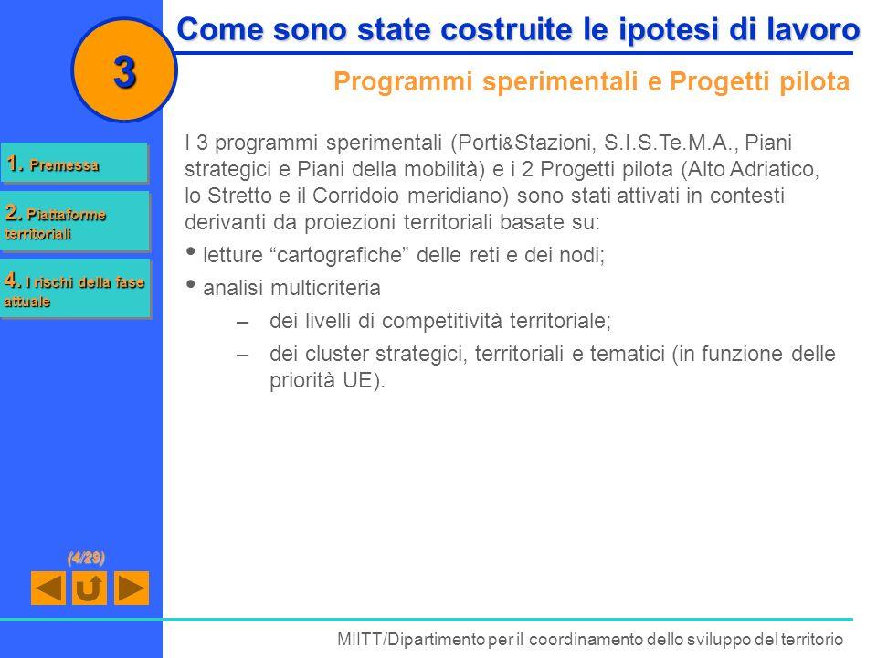 Programmi sperimentali e Progetti pilota MIITT/Dipartimento per il coordinamento dello sviluppo del territorio 3 I 3 programmi sperimentali (Porti & S