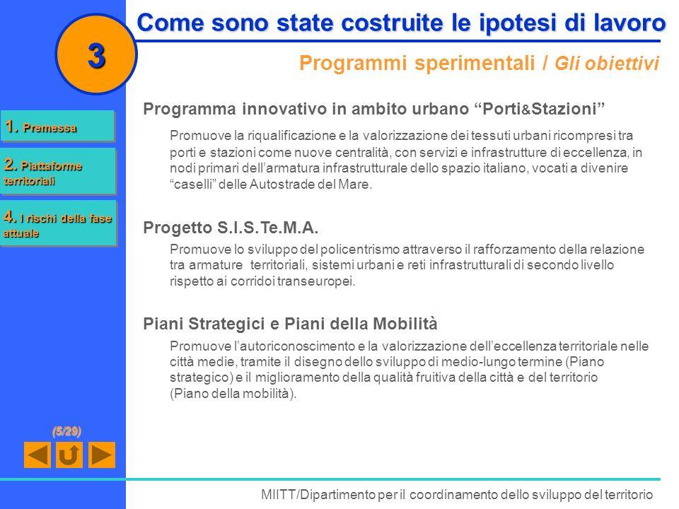 Programmi sperimentali / Gli obiettivi MIITT/Dipartimento per il coordinamento dello sviluppo del territorio 3 Programma innovativo in ambito urbano P