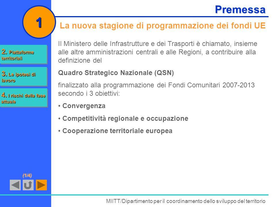 Premessa La nuova stagione di programmazione dei fondi UE Il Ministero delle Infrastrutture e dei Trasporti è chiamato, insieme alle altre amministraz