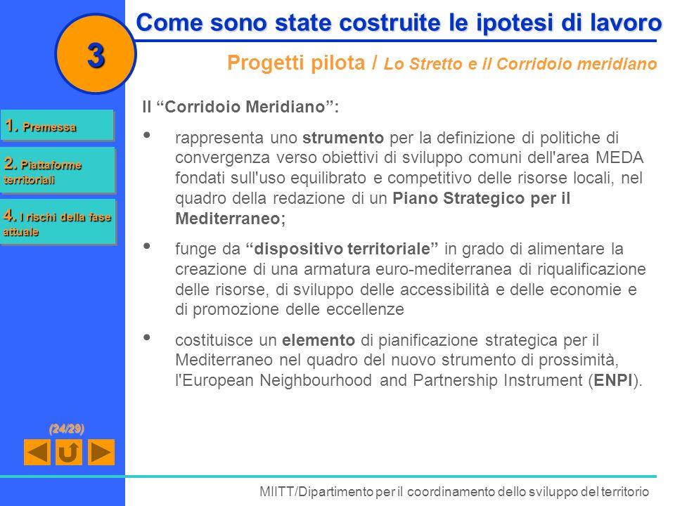 Progetti pilota / Lo Stretto e il Corridoio meridiano Il Corridoio Meridiano: rappresenta uno strumento per la definizione di politiche di convergenza