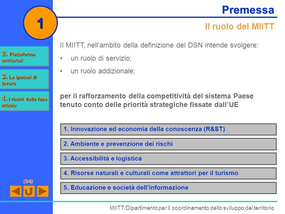 Premessa Il ruolo del MIITT Il MIITT, nellambito della definizione del DSN intende svolgere: un ruolo di servizio; un ruolo addizionale; MIITT/Diparti