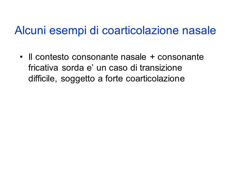 Alcuni esempi di coarticolazione nasale Il contesto consonante nasale + consonante fricativa sorda e un caso di transizione difficile, soggetto a fort