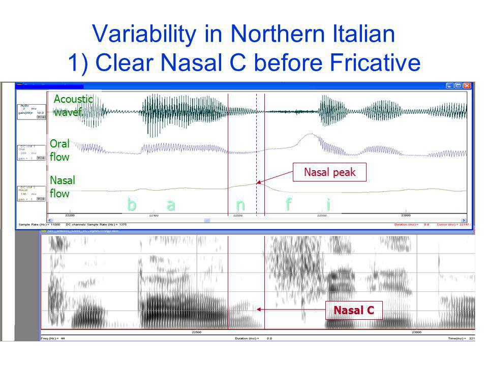 Variability in Northern Italian 1) Clear Nasal C before Fricative Nasal flow Oral flow Acoustic wavef.