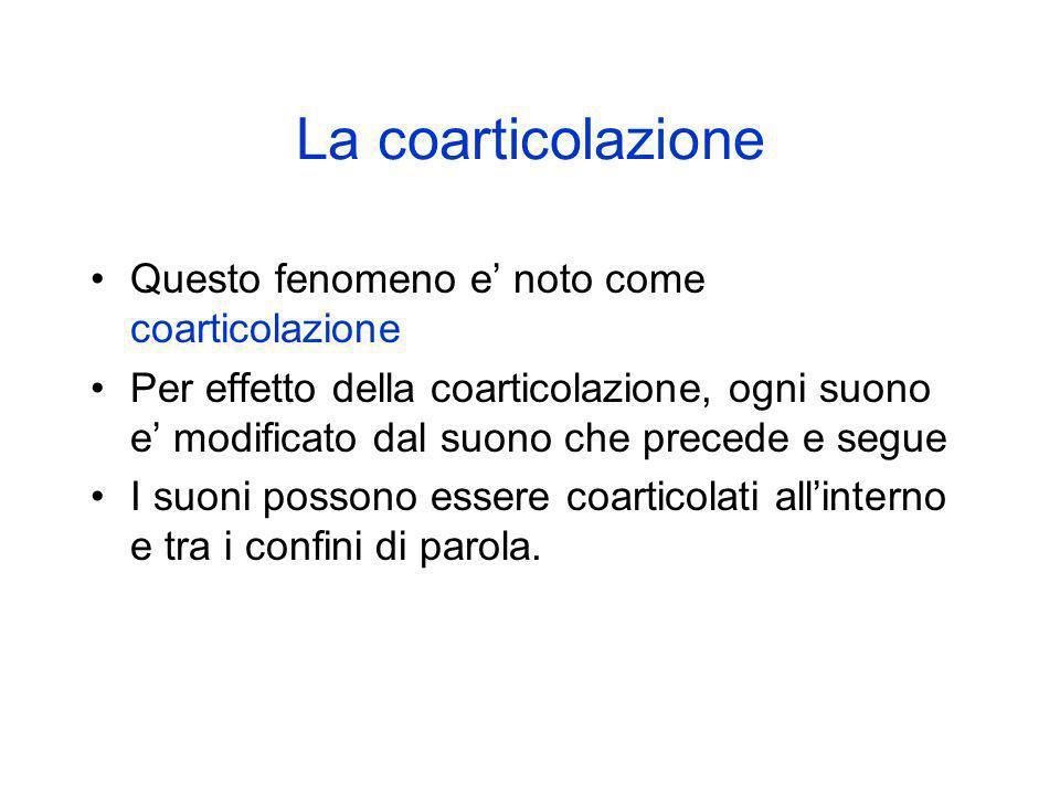 La coarticolazione Questo fenomeno e noto come coarticolazione Per effetto della coarticolazione, ogni suono e modificato dal suono che precede e segu