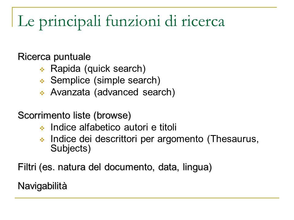 Le principali funzioni di ricerca Ricerca puntuale Rapida (quick search) Semplice (simple search) Avanzata (advanced search) Scorrimento liste (browse) Indice alfabetico autori e titoli Indice dei descrittori per argomento (Thesaurus, Subjects) Filtri (es.