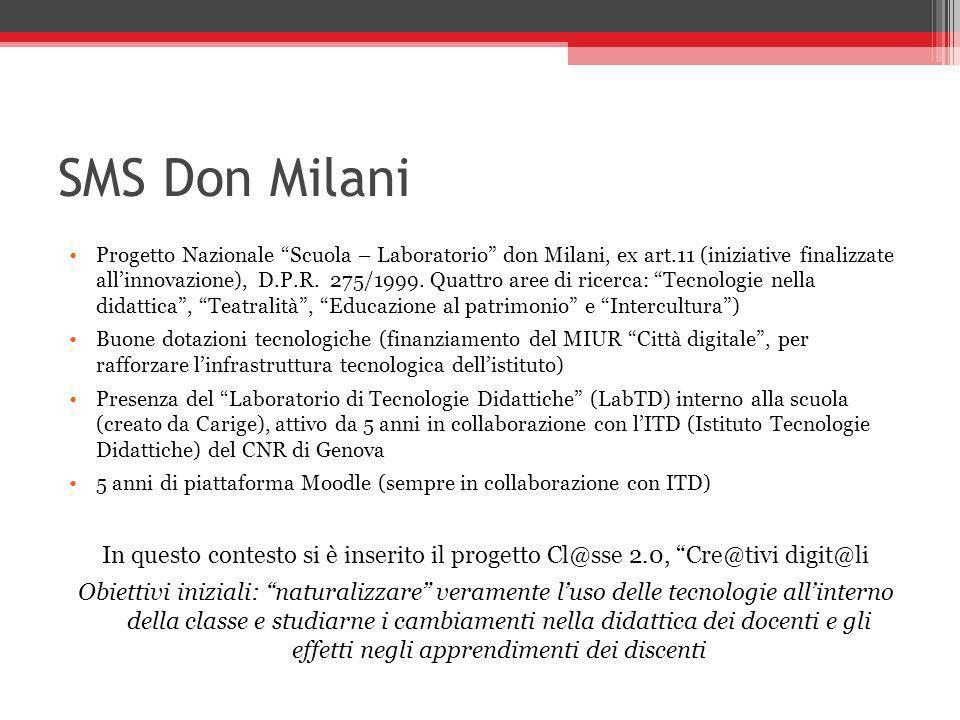 SMS Don Milani Progetto Nazionale Scuola – Laboratorio don Milani, ex art.11 (iniziative finalizzate allinnovazione), D.P.R. 275/1999. Quattro aree di