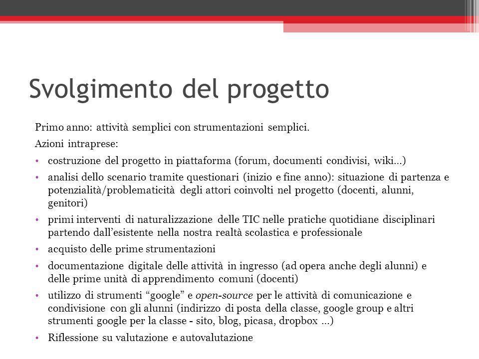 Svolgimento del progetto Primo anno: attività semplici con strumentazioni semplici. Azioni intraprese: costruzione del progetto in piattaforma (forum,