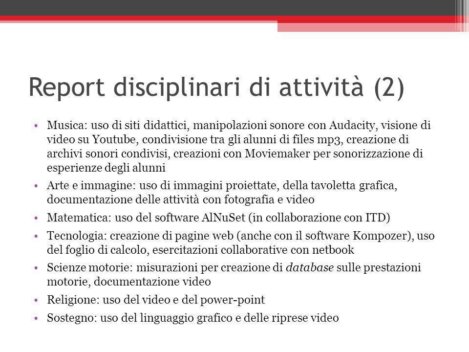 Report disciplinari di attività (2) Musica: uso di siti didattici, manipolazioni sonore con Audacity, visione di video su Youtube, condivisione tra gl