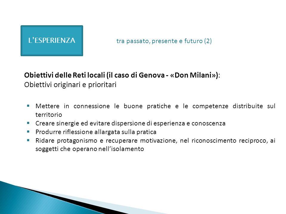 LESPERIENZA Obiettivi delle Reti locali (il caso di Genova - «Don Milani»): Obiettivi originari e prioritari Mettere in connessione le buone pratiche