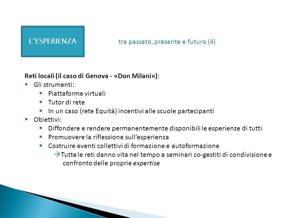 LESPERIENZA Reti locali (il caso di Genova - «Don Milani»): Gli strumenti: Piattaforme virtuali Tutor di rete In un caso (rete Equità) incentivi alle