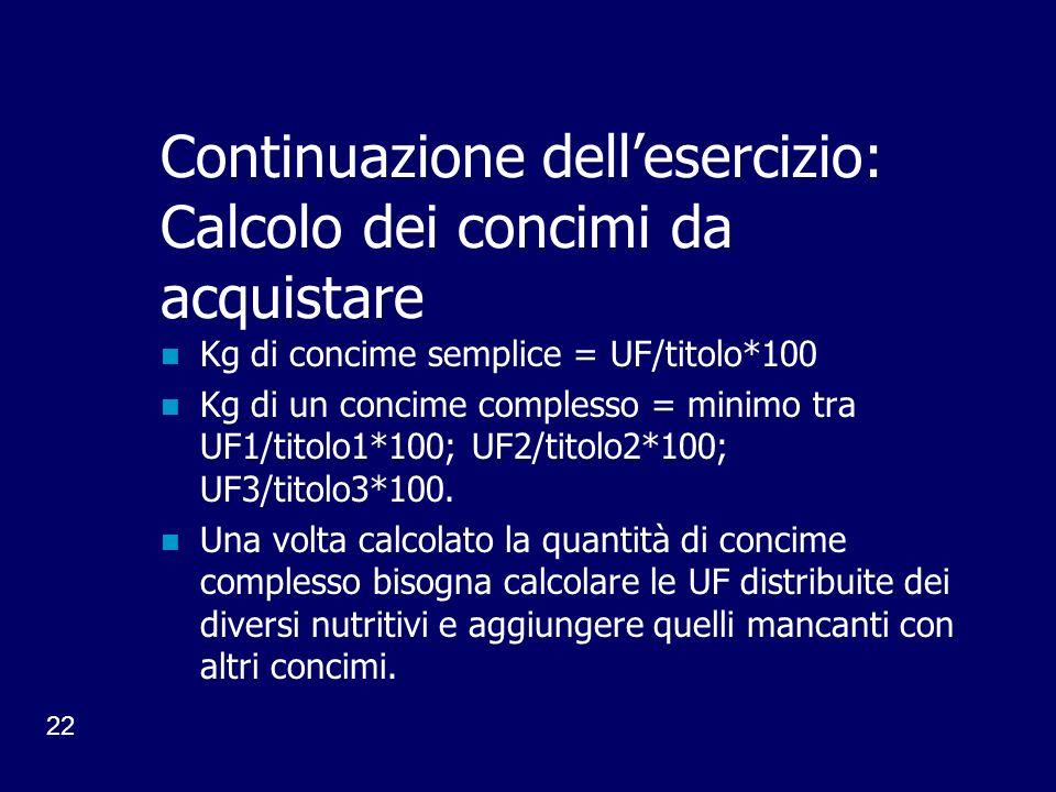 22 Continuazione dellesercizio: Calcolo dei concimi da acquistare Kg di concime semplice = UF/titolo*100 Kg di un concime complesso = minimo tra UF1/titolo1*100; UF2/titolo2*100; UF3/titolo3*100.