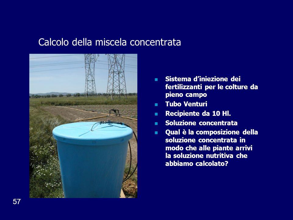 57 Calcolo della miscela concentrata Sistema diniezione dei fertilizzanti per le colture da pieno campo Tubo Venturi Recipiente da 10 Hl. Soluzione co
